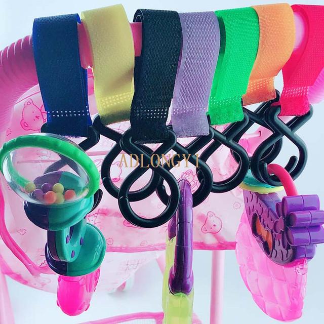 ADLONGYI Children Stroller Hooks Infant Pram Pushchair Car Hanger Hanging Strap Convenient Plastic Baby Stroller Accessories