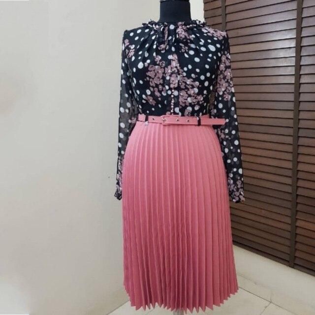 18a55c4ecbd67 US $11.39 43% OFF|2019 Spring Autumn Chiffon Print Midi Dress Casual Cute  Women Floral Long Bowknot Dresses Long Sleeve Vestido L 3XL Plus Size-in ...