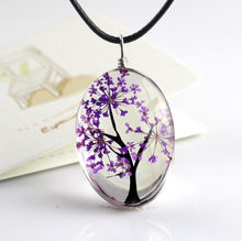 Handmade Dried Flower Necklace Glass Pendant Leather Chain Boho Long Statement Necklaces Summer Jewelry for Women(China)
