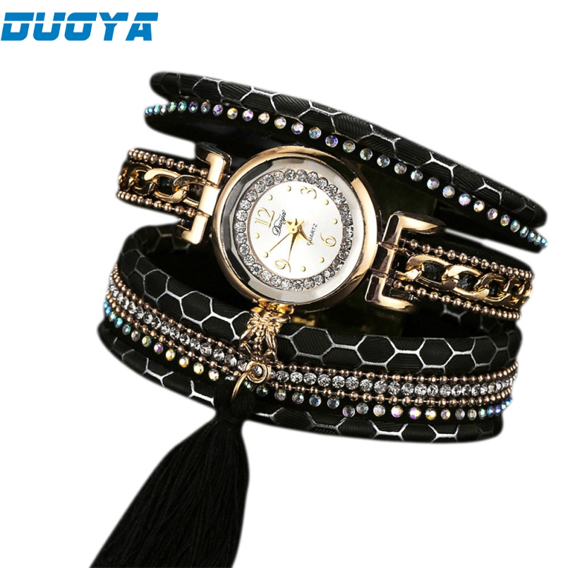 Duoya Brand Fashion Leather Bracelet Watch Women Luxury Full Crystal Quartz Wristwatch Relogio Feminino Clock Dropship