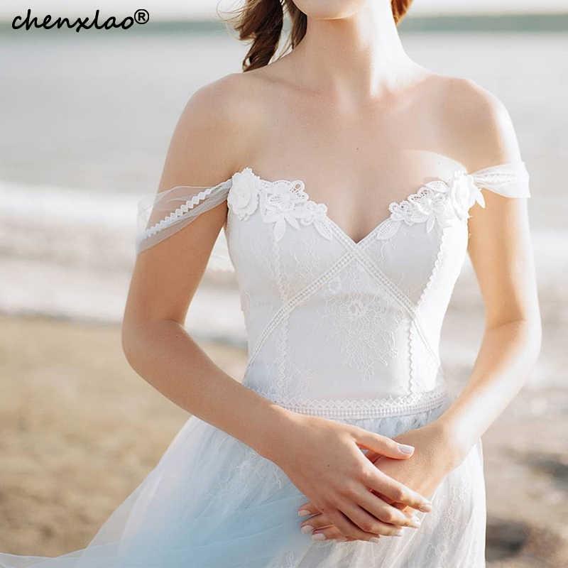 2019 חדש קיץ שמלות כלה כבוי כתף שיפון אונליין תחרה בוהמי חתונת שמלות קיץ חוף כלה שמלות Noivas