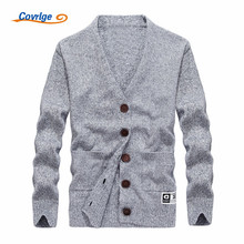 Covrlge 2017 New Men's Sweaters Solid Color V-neck Pocket Fashion Autumn Winter Sweater Free Shipping Mens Clothing M-3XL MZM006
