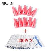 ROSALIND набор для удаления лака для ногтей для маникюра 200 шт. обертывания + 10 шт. клипсы для отмачивания ногтей салон удаления набор инструмент...