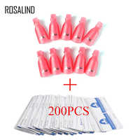 ROSALIND Nail Polish Remover Set For Manicure 200pcs Removal Wraps +10pcs Soaker Caps Nail Art Salon Remove Tool Kit