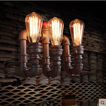 Retro Rustic Water Pipe Wall Lamp Vintage Fixtures Loft Style Industrial Edison Wall Sconce