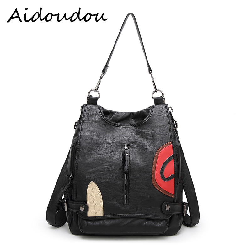 2017 Fashion Genuine Leather Women black Backpack Large Capacity Travel Bag Soft sheepskin Bag For Teenage
