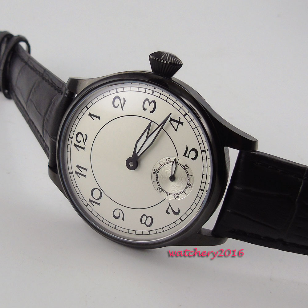 44mm parnis White Dial Black pvd Leather strap 17 jewels 6498 Movement Hand Wind Mechanical Men's Watch