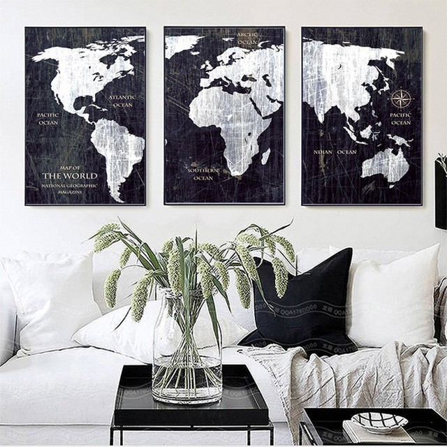 Black And White World Map Framed.Sure Life Vintage Black And White World Map Posters Prints Canvas