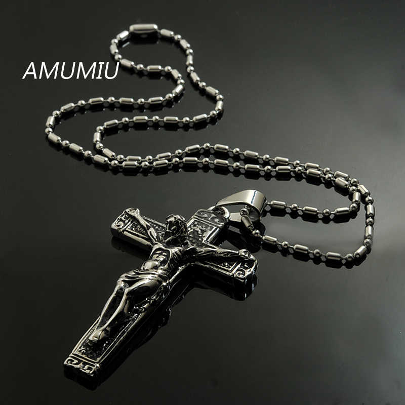 AMUMIU jesus cross with chains Stainless steel mens jewelry crucifix christian jewelry Necklaces & Penda HZP169