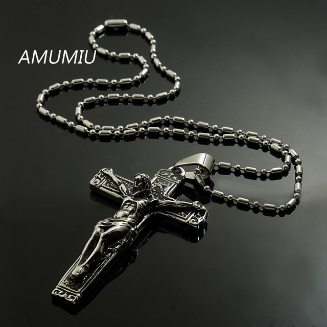 AMUMIU jesus cross with chains Stainless steel mens ...