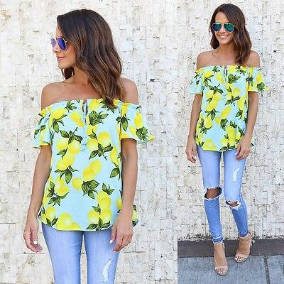 ac7c091403d0 2017 fashion summer sexy t shirt women tops short sleeve slash neck off  shoulder lemon print