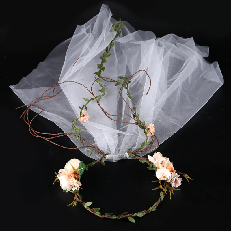 New Fashion Wedding Hair Accessories Hair Hoops with Lace Flower Garland Floral Bridal Wreath Headwear Bridal Hair Accessories
