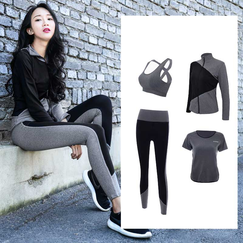 Women Fitness 2018 Yoga Set Plus Size M-3XL Sports Bra Yoga Pants Zipper High-necked Shirt T-shirt Gym Running 4 in 1 Sportswear leading lady women s plus size underwire padded t shirt bra white 38d