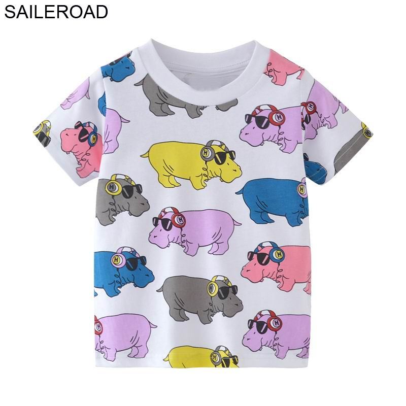 SAILEROAD 2-7Year Animal Rhinoceros Baby Boys Girls Tops Tees T Shirt For Summer Children Kids Girl's Clothing Cotton Clothes цена