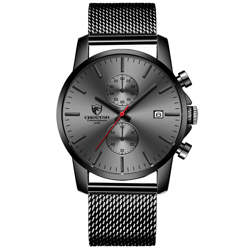 Image 5 - CHEETAH Brand Men Watch Fashion Business Quartz Wrist Watches Stainless Steel Mesh Chronograph Male Clock Date Relogio Masculino-in Quartz Watches from Watches