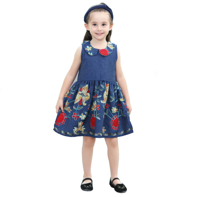 70368c1b753 Little Girls Denim Dress Kids Embroidery Peter Pan Collar Princess Dress  Holiday Casual Party Costume Blue Children s Clothing