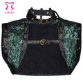 6XL Green Floral Brocade And Leather Vintage Gothic Jacket Steampunk Coat Women Bolero Burlesque Outfits Sexy Corset Accessories