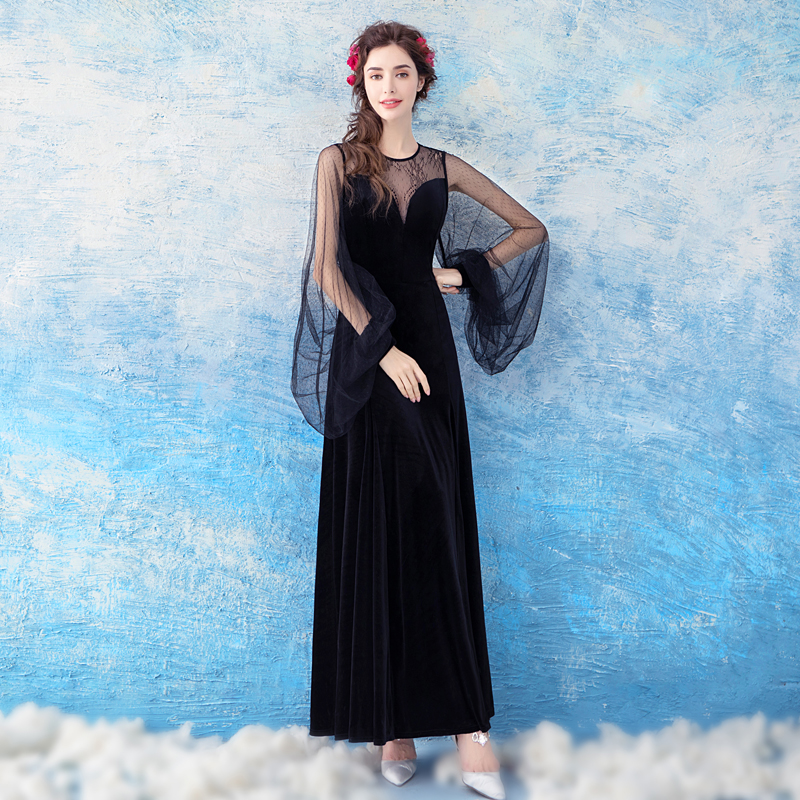SOCCI Long Sleeve   Evening     Dresses   Black Sexy Prom   Dress   2019 for Women Elegant Formal Party Gown illusion VELOUR & Lace Robe De
