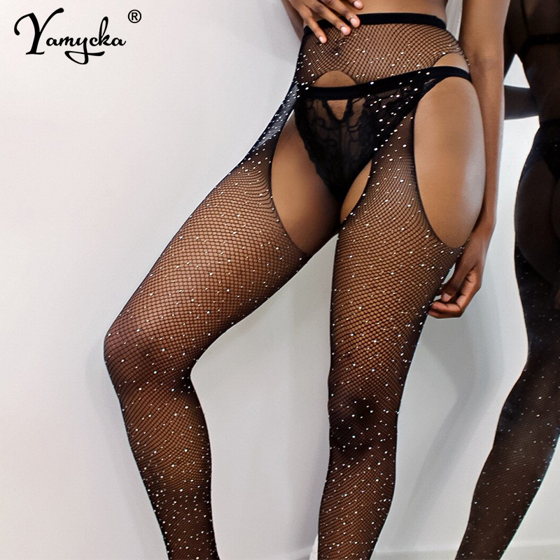 Hot Sexy Womens Sequins Fishnet Tights Open Crotch Mesh Pantyhose Shiny Rhinestone Lady Nylons Stockings Tights Hosiery Collant