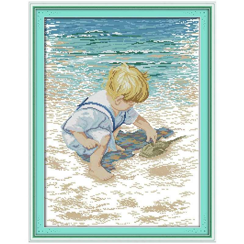 Boy Girl Play on the beach counted 11CT 14CT Cross Stitch Set DIY DMC Cross-stitch Kit Embroidery Needlework Home Decor