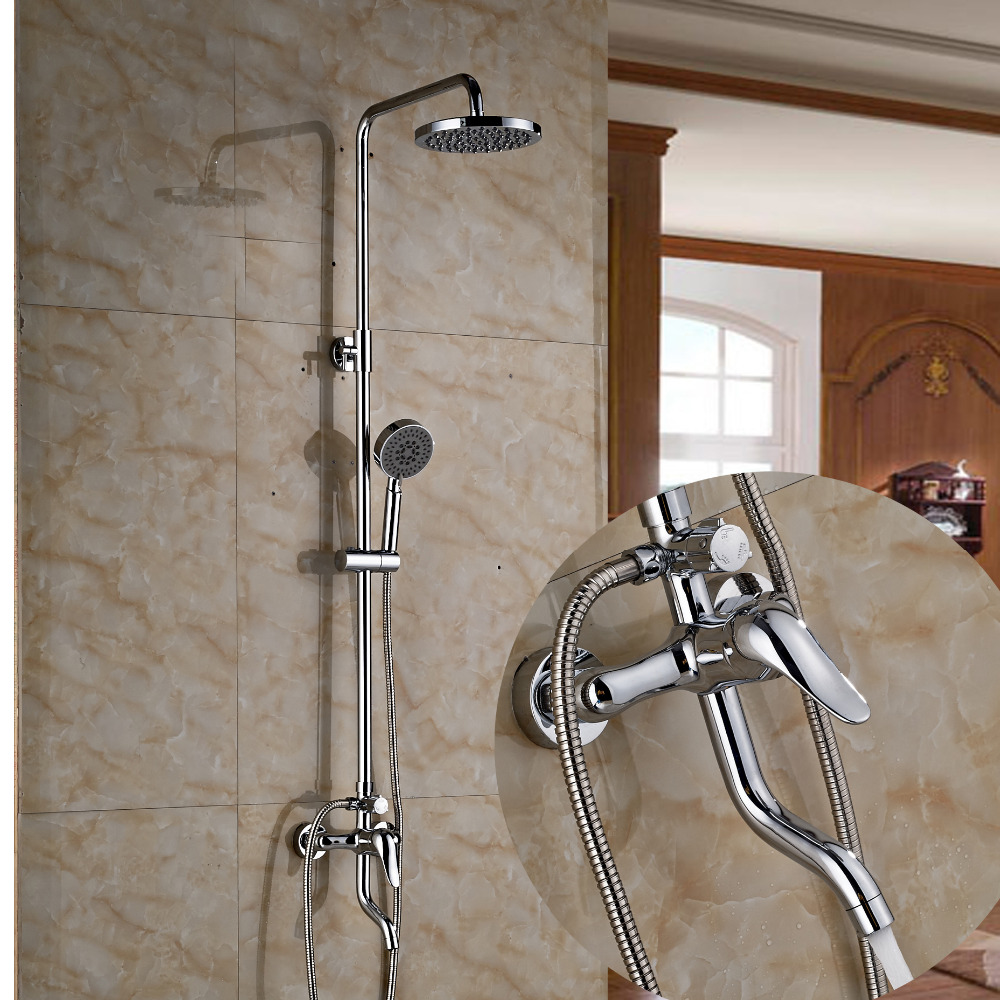 Modern Swivel Spout 8 Round Rain Shower Head Faucet W/ Hand Shower Mixer Tap sognare new wall mounted bathroom bath shower faucet with handheld shower head chrome finish shower faucet set mixer tap d5205