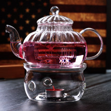 Teapot-Set Glass Tea-Tools Warm-Holder Heat-Resistant 600ml Office Transparent Striped