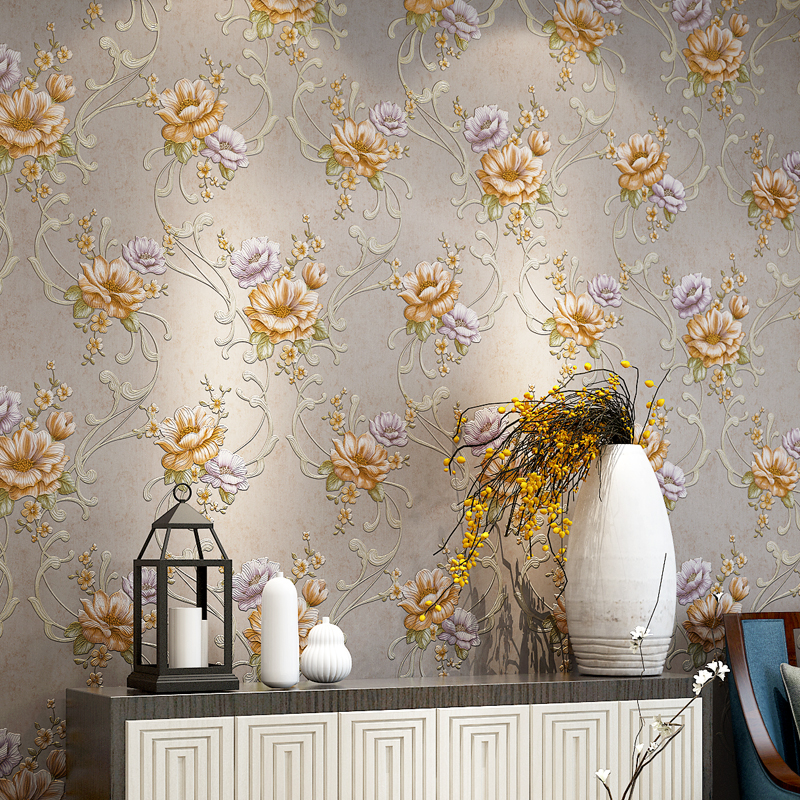 Pastoral Large Flower Wallpapers 3D Stereoscopic Non-woven Embossed Wallpaper For Living Room Bedroom Home Decor Papel De Parede american country leaf branch flower pastoral non woven wallpaper bedroom living room 3d stereoscopic background wallpaper mural