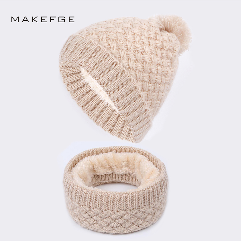 Women's Knitted Cotton Hats Autumn And Winter New Warm And Comfortable Ski Caps Scarf Plus Velvet Thick Solid Color Beanie Scarf