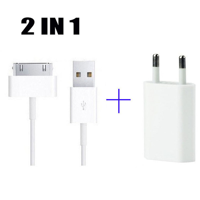 2 IN 1 5V 1A AC EU plug Adapter Power USB Wall charging charger + 30 pin Data sync cable for iphone 4 4s ipod