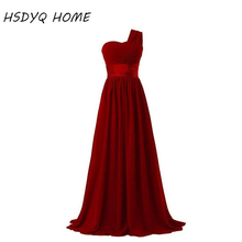 Burgundy Red Long Elegant Prom Dresses Sexy Slimming Stylish Shining Floor Length Prom Dresses 2017 cheap HSDYQ HOME 2017042901 Pleat Sweep Train Chiffon Simple Polyester Natural One-Shoulder Sleeveless Floor-Length A-Line