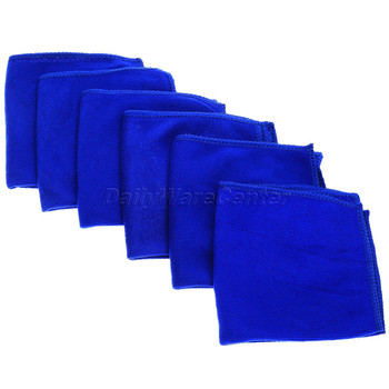 Car-styling 6Pcs Blue 30x30cm Auto Car Microfiber Detailing Cleaning Brush Cloths Soft Cloth Wash Towels Sponges Clothes