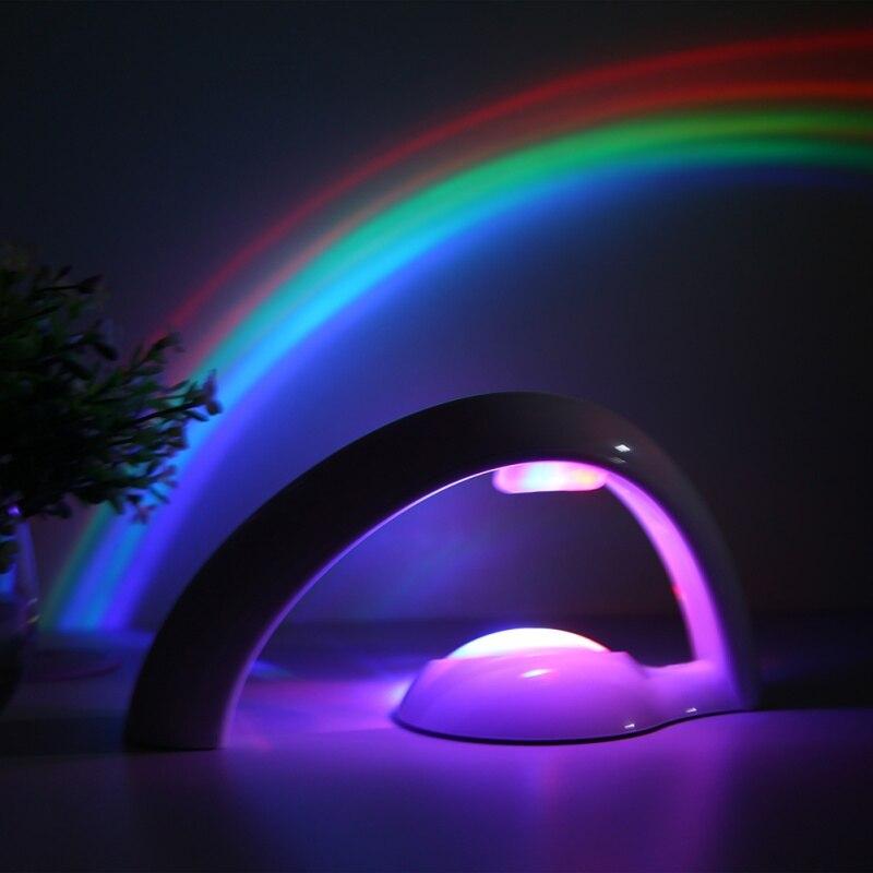 Novelty LED Colorful Rainbow Night Light Romantic Sky Rainbow Projector Lamp luminaria Home bedroom light