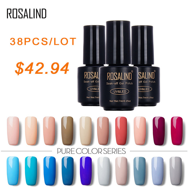 Rosalind 7 Ml 38 Pcslot Pure Color Soak Off Nail Gel Polish Art Gel