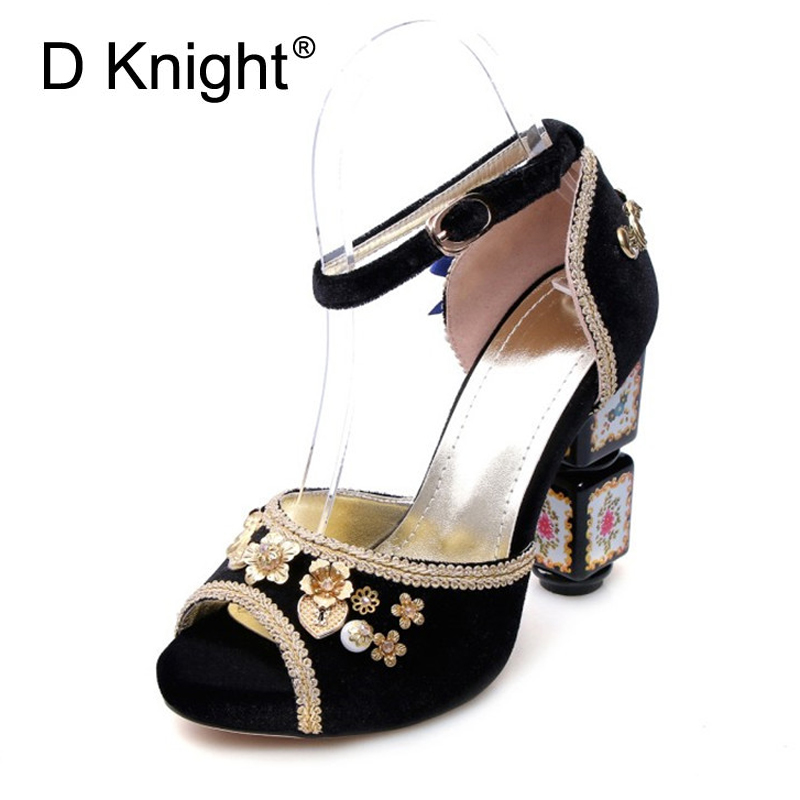 11 cm étrange Style talon sandales or velours femmes chaussures pompes Peep Toe rose noir rouge femmes demoiselle d'honneur chaussures de mariage talons hauts