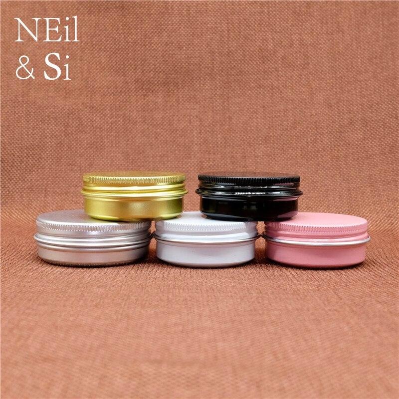 30g Aluminum Cosmetic Jar Refillable Lip Oil Batom Eye Cream Wax Small Tin Empty Screw Cap
