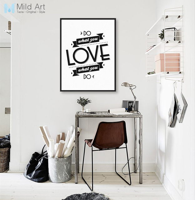 Modern Black White Motivational Typography Love Quotes A4 Big Canvas ...