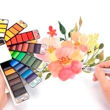Улучшенный 18/25/33/42 Цвета пигмента краски набор премиум-класса из Твердые акварельные с емкостью для рисования картин товары для рукоделия