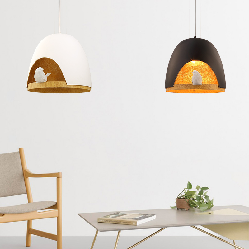 Blackwhite modern bird shell wooden pendant light contemporary blackwhite modern bird shell wooden pendant light contemporary pendant lamp for living room nordic kids bedroom pendant lights in pendant lights from mozeypictures Choice Image