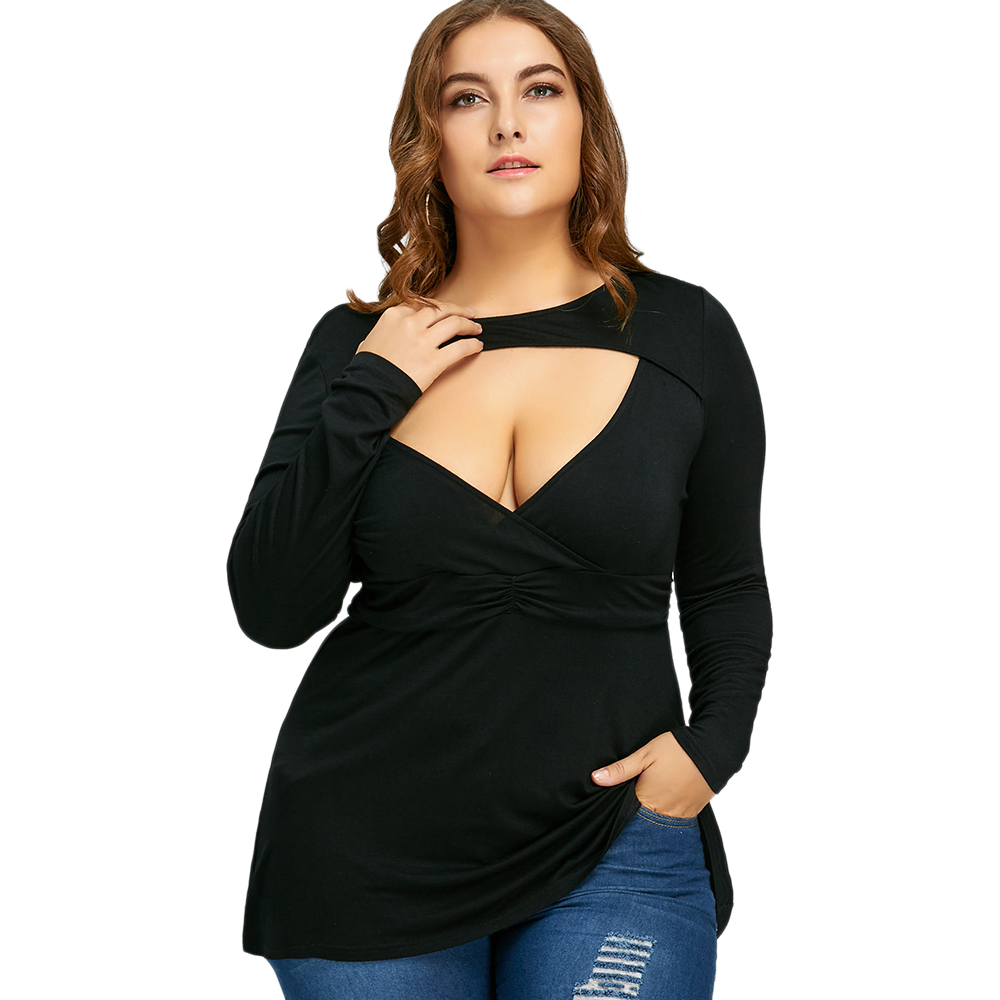 bc631e887ed97 Plus Size Criss Cross Ruffle Insert T Shirt Women T Shirts Summer ...