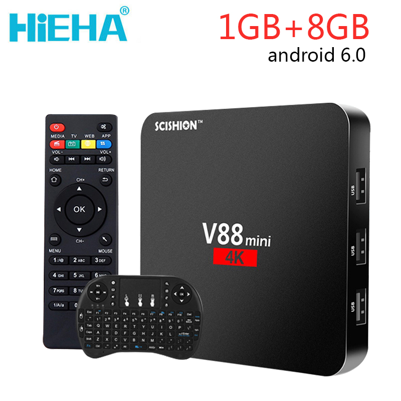 V88 Mini Android 6.0 TV Box 1GB RAM 8GB ROM Android Tv Box RK3229 Quad Core Kodi 16.1 Set Top Box 4K Media Player 1G 8G mini dlp projector android 4 4 smart tv box 1gb 8gb kodi xbmc 2 4g
