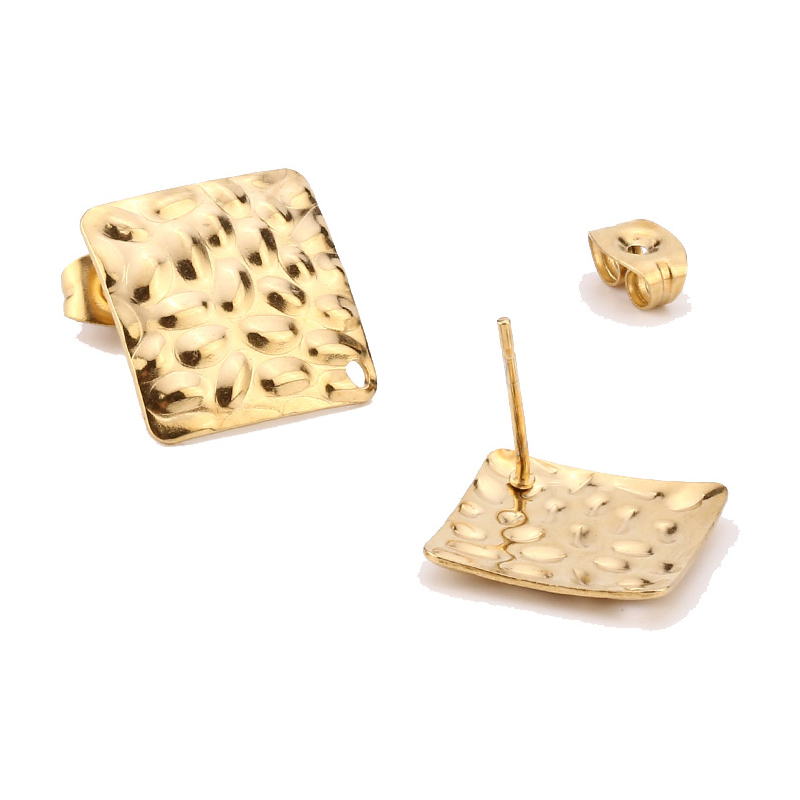 Gold Stainless Steel Square Heart Round Blank Ear Posts Findings With Hole Hammered Uneven Pad Stud Earrings Base DIY Making