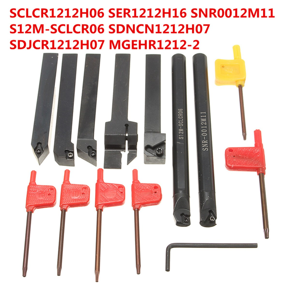 7 Set 12mm CNC Lathe Turning Tool Holder SCLCR1212H06/SER1212H16/SNR0012M11/S12M-SCLCR06/SDNCN1212H07/SDJCR1212H07/MGEHR1212-2 zcc ct cutter bar pdnnr l2020k15 p hole clamping tool holders external turning tools cnc lathe tool holder for dn series
