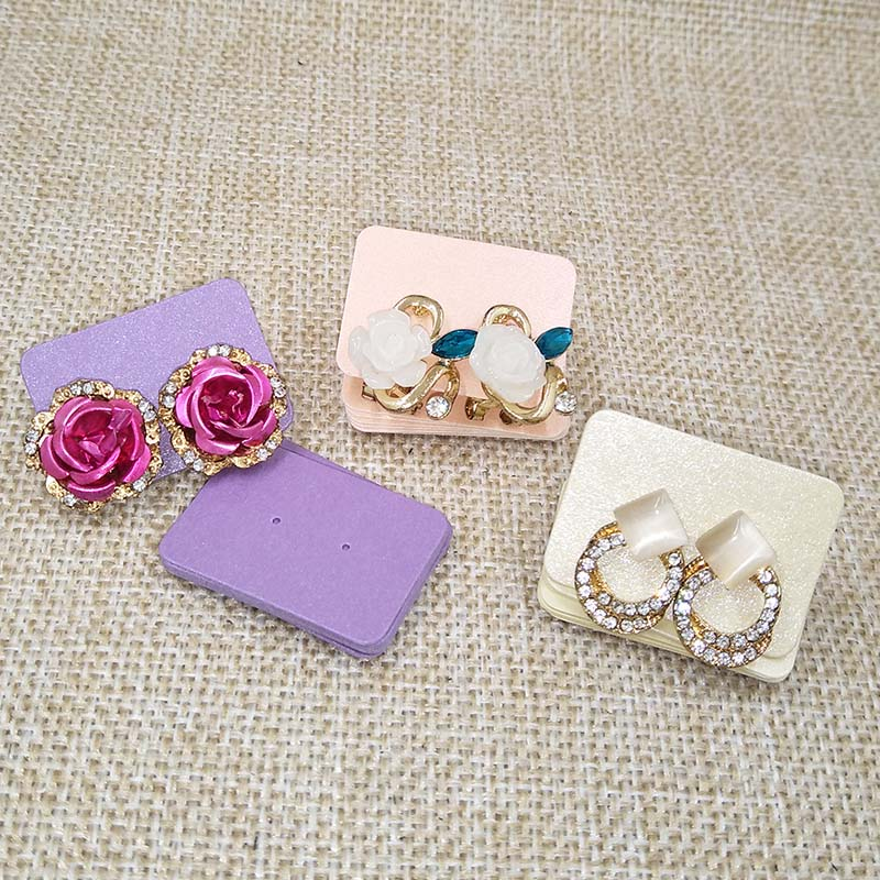 2017 New Earring Card  Paper3.5x2.5cm1 Pair Earring Hole Card1lot =100pcs 9Colouors For Choice Earring Display Card