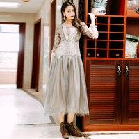 2019 new fashion women's lace dress retro long swing dresses