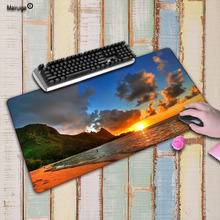 Mairuige Simple Design Beautiful Beach Sunset Comfort Mouse Mat Gaming Large Lock Edge Mousepad Size 30*70 and 40*90cm For DOTA