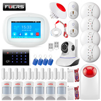 K52 4,3 дюйма Экран дома охранной сигнализации WI FI GSM Системы приложение Управление клавиатуры RFID открытый сирена SOS кнопочный разъем дым Сенсо