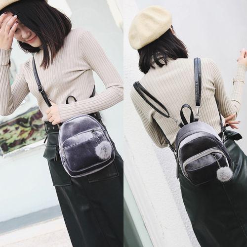Fashion Velvet Pom Women Backpack Travel bags Girls School Bag Black &Grey Mini backpack