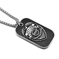 HIP Punk Gothic Cool Titanium Stainless Steel USA POLICE OFFICER Pendants Necklaces For Men Jewelry