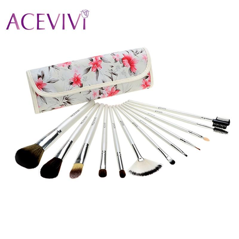ACEVIVI Fashion Women's Professional 12pcs Soft Cosmetic Tool Makeup Brush Set Kit with Floral Printed Pouch 31 acevivi 4pcs sponge