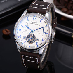 43mm Parnis white dial date Power Reserve Mechanical Automatic Mens Watch ST2505 Leather Strap